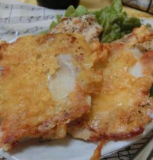 材料3つ☆ フライパンでおつまみ♪ 鶏むね肉でチーズせんべい