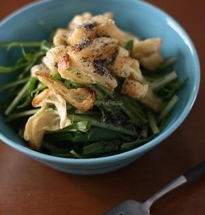 カリカリお揚げと水菜のゴマポンサラダ