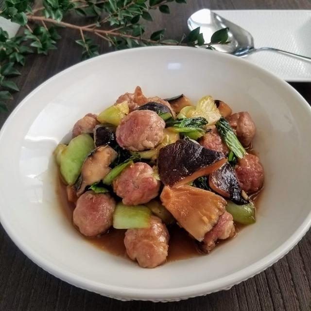 豚コマボールと青梗菜の旨煮