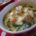 牡蠣とホウレン草の豆乳グラタン