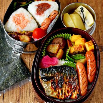 【今日のおべんと】JUNA夫さんは糀さば焼き弁当、娘はおにぎり弁当