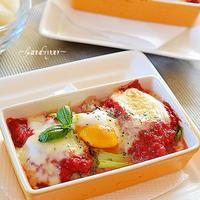 トマトソースと鯖の水煮のココット風♪10分で朝ごはん!