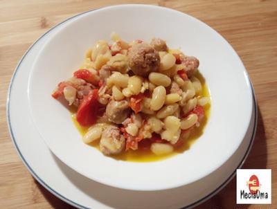 白いんげん豆とサルシッチャの煮込み