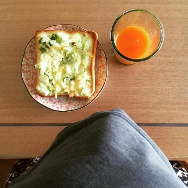 ボイルキャベツとピーマンのトースト