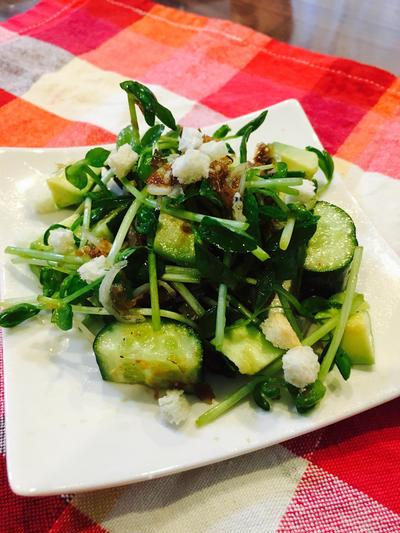豆苗と胡瓜のアボガド梅練りサラダ