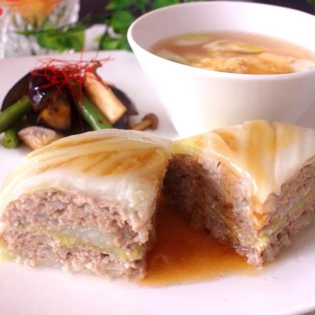 レンジで簡単&白菜消費にも!白菜とひき肉の重ね蒸し&茄子のピリ辛炒め