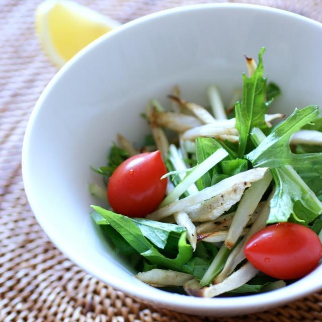 食物繊維を摂る!細切りごぼうと水菜のサラダ
