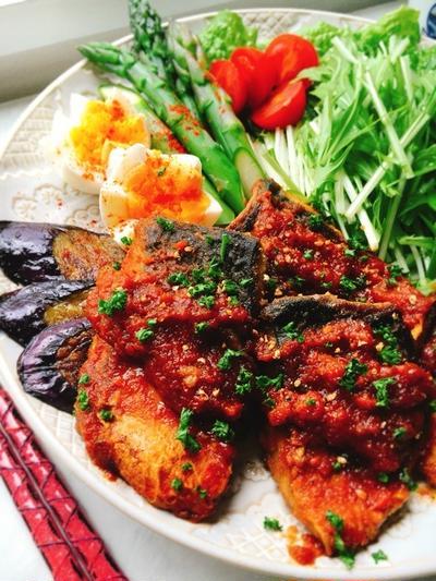自作ケチャップで鯖のケチャップ煮込み。