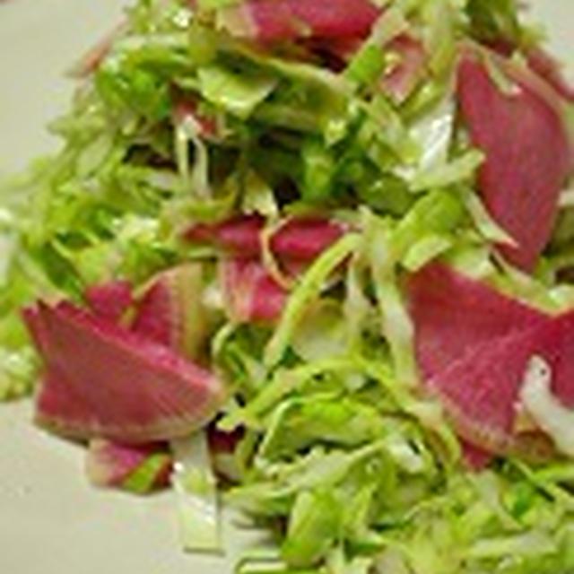 キャベツと紅芯大根のサラダ、作りました。