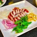カツオのたたき、中華風&ピータン豆腐