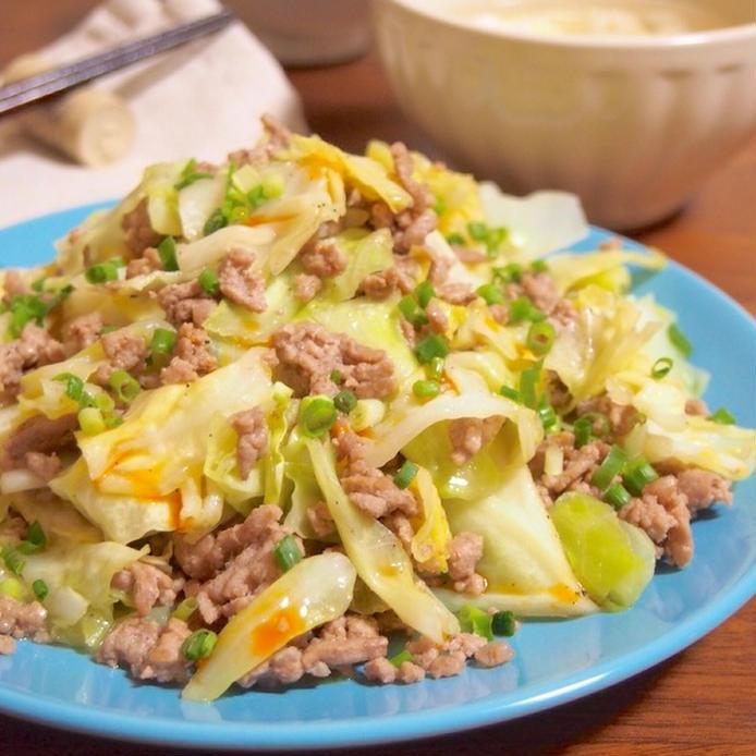 豚ひき肉とキャベツの中華炒め