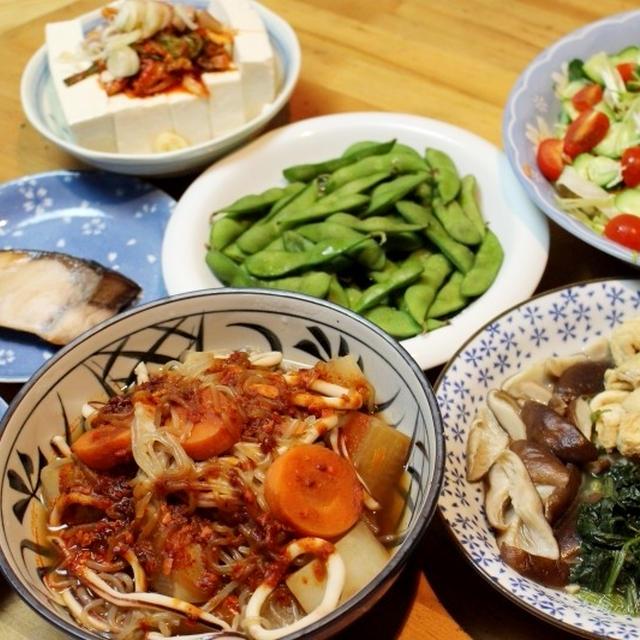 イカと根菜の煮物辛みソース