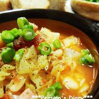 マ・マーうれしい早ゆでサラダクルルde白いんげん豆とキャベツのスープパスタ♪
