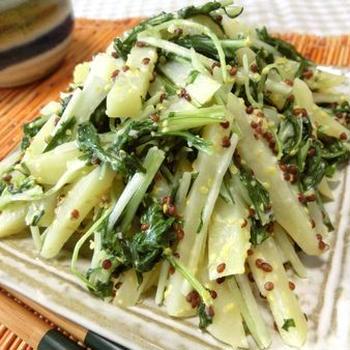 リボベジ水菜で簡単一品☆ 水菜とじゃがいもの粒マスガーリックマヨ炒め