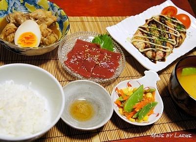 鶏手羽の酢タミナ煮と豆腐とおからのお好み焼き風