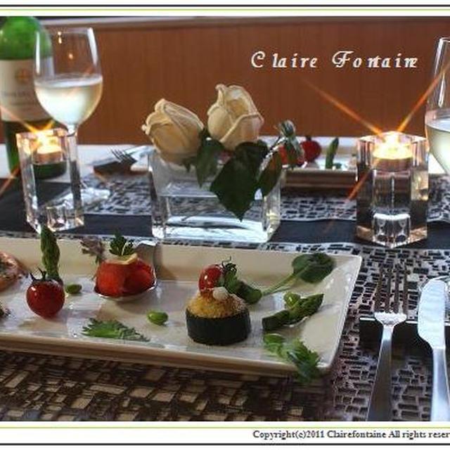 イタリアン前菜と緑のパスタ