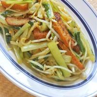 ほんのりカレー風味の簡単おつまみおかず!だしまろ酢でコク旨〜さつま揚げと野菜のパパッと炒め。