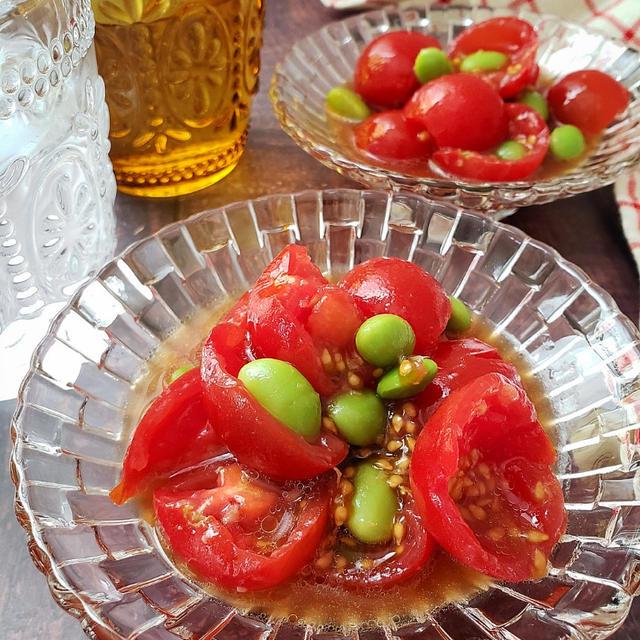 ~汁ごと飲みほしたい~【ちぎりトマトと枝豆の中華サラダ】#ミニトマト #作り置き #夏野菜
