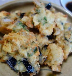 鶏挽肉と茄子の天ぷら