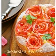 リンゴ1個とホットケーキミックスで簡単お菓子♪華やか薔薇りんごケーキ炊飯器でもOK♡母の日や記念日に