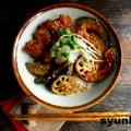 【簡単!カフェ丼】鶏となす、かぼちゃ、蓮根の南蛮おろしだれ丼と、ラジオ