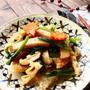 さつま揚げと小松菜の中華おこげあんかけ