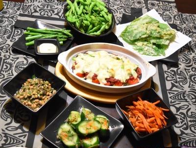 なすがとろーり「夏野菜とコンビーフのチーズ焼き」野菜料理のおうち宴会。