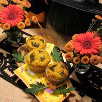 お花と楽しむハロウィン♪卵&バター不使用のカボチャマフィン