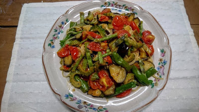 夏野菜のゴーヤ、茄子、シシトウのカリーパスタ