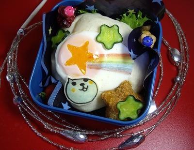 七夕にQOO流星キャラ弁/虹色の描き方/シャープな星形コロッケ