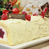ブッシュドノエルのクリスマスケーキ☆ネージュ・ブラン (ロールケーキのお菓子)