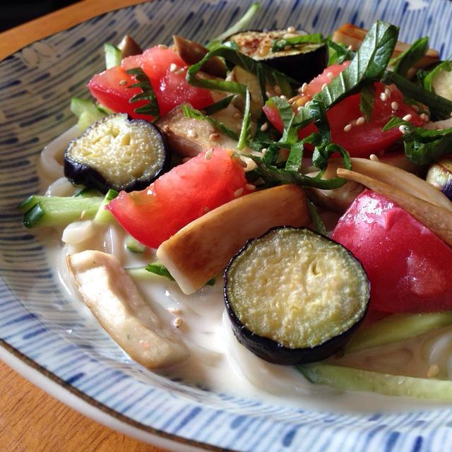 豆乳で簡単healthy*夏野菜たっぷりサラダうどん