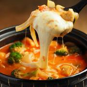ささ身とブロッコリーのトマトチーズ鍋