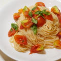 今日はトモショクの日。お店で食べた味を再現したくて。冷製トマトのカッペリーニ自宅で再現。白バルサミコ酢がポイント