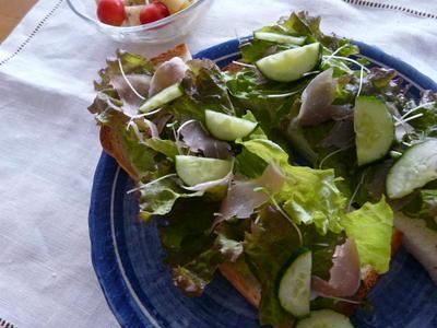 生ハム&スプラウトのサラダトースト