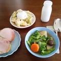 しっかり朝食:青梗菜花で春らしいスープ