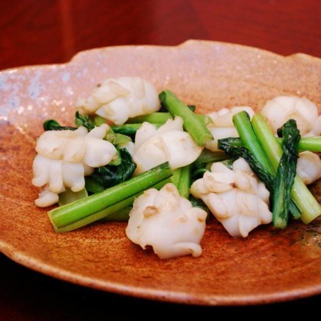 イカと小松菜のアンチョビ炒め