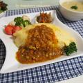 子供が大好きオムカレーと簡単副菜の晩御飯