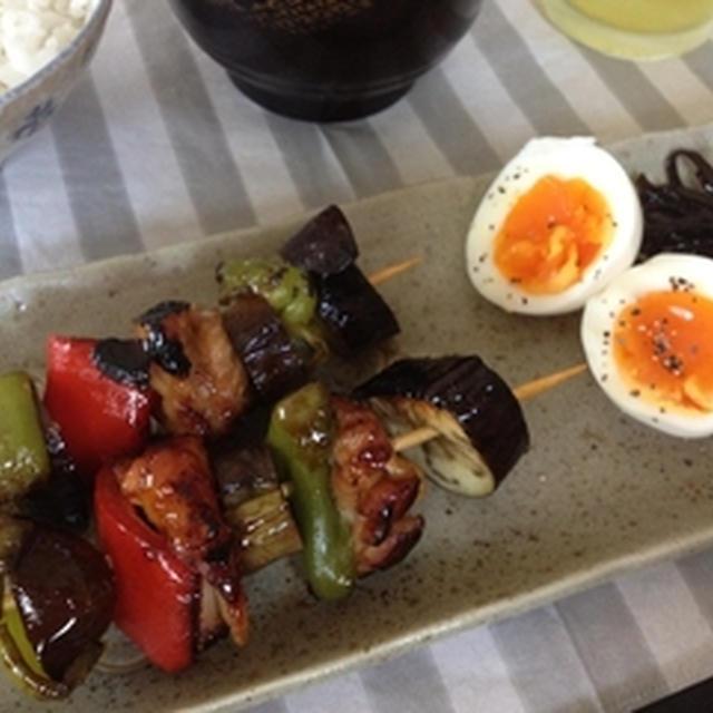 鶏肉と夏野菜の照り串焼き