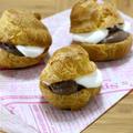 お鍋ひとつで簡単シュークリーム(ホイップ&チョコカスタード)。 晩ご飯はパスタ♪