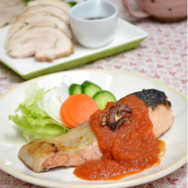 鮭のソテー・とろとろトマトソース。オイスターバターだしのキャベツスープ。の晩ご飯。