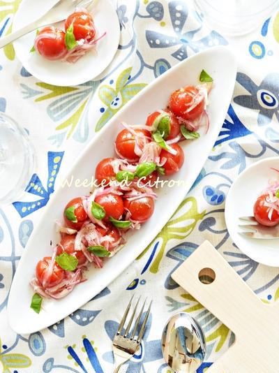 ミニトマトと玉ねぎのマリネ~レシピ付き~わが家の常備菜