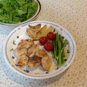 季節の野菜と鶏むね肉のソテー