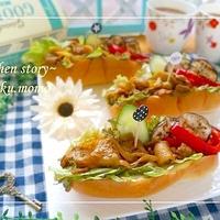 夏休みのお昼ごパンに♪豚肉のカレーソテーと夏野菜のロールパン