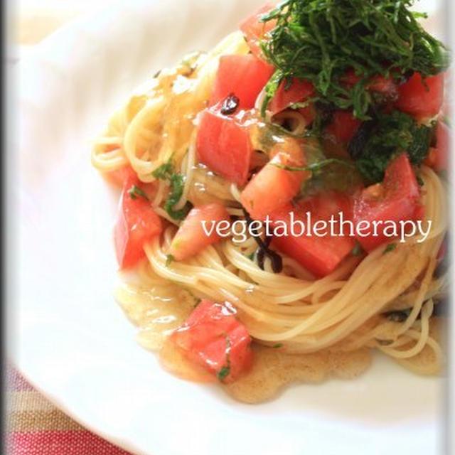 トマトと大葉と塩昆布の冷製ジュレぽんパスタ