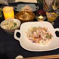 10分の夕飯づくり~♡バンバンジー、鯖缶でチゲ鍋風、里芋マヨサラダ