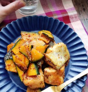 美肌&疲労回復レシピ♡鮭とカボチャのハニーマスタードしょうゆ照り焼き