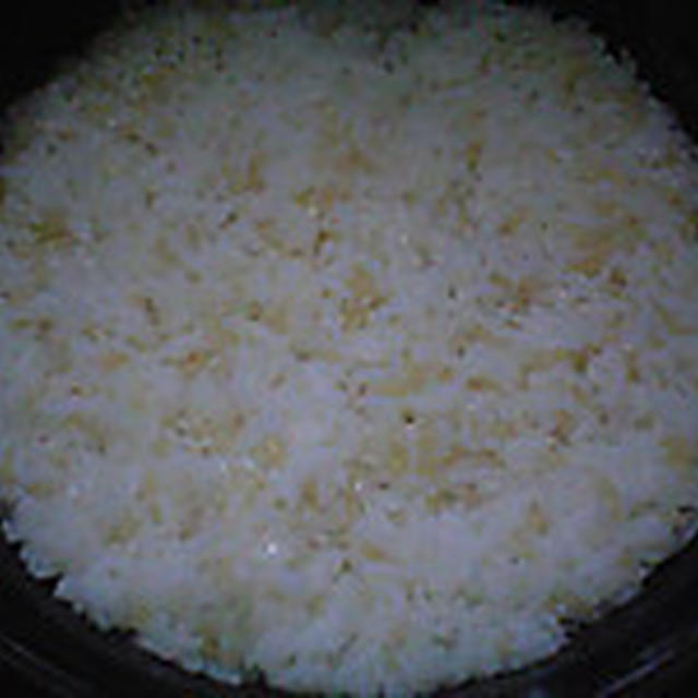 湯立てで白米(935)。。。北海道石狩平野雨竜町産特別栽培米ゆめぴりか・白米(あいざわ米店)と茨城県産うまかっぺコシヒカリ玄米・新米(あいざわ米店)