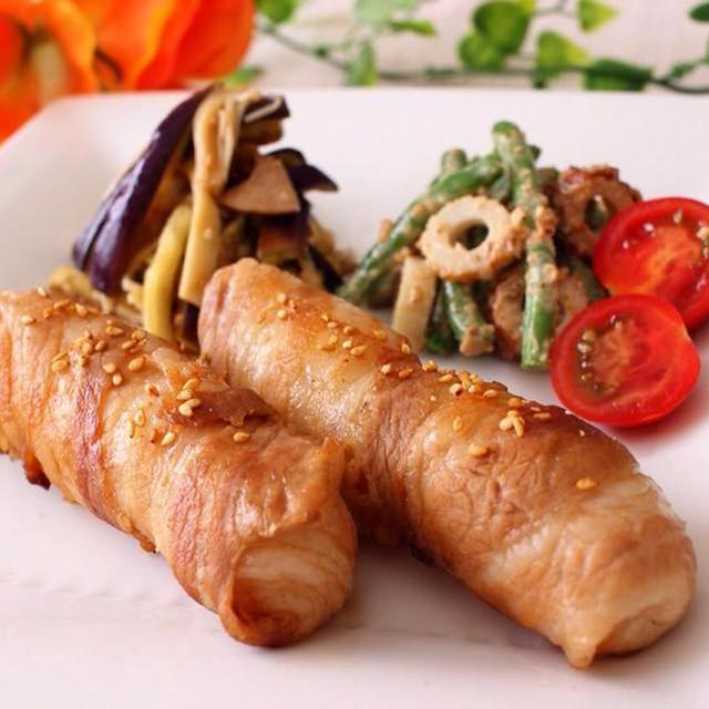 お昼ご飯やお弁当にも☆甘辛スティック豚肉巻き&レンチンピリ辛中華和え