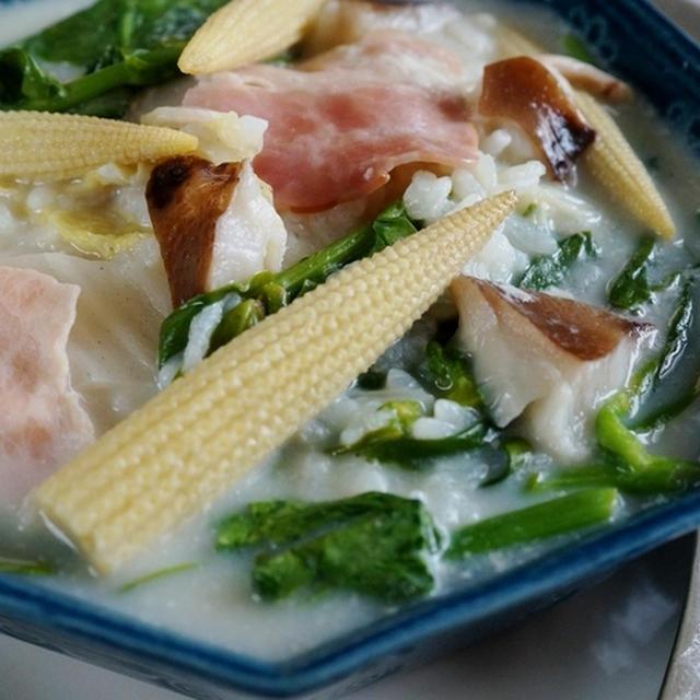 【朝粥】冷蔵庫の在庫物+菜園野菜+自家原木栽培の椎茸で作りました♪